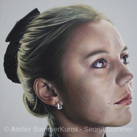 0223 | Tanja, oil on canvas, 80 x 80 cm, 2018 (reference photo: Hans-Joachim Reiter)
