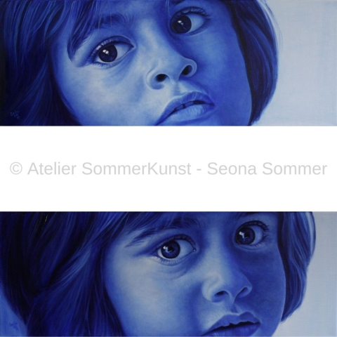0231 & 0230 | Delssa, oil on canvas, 80 x 30 cm each, 2019 (reference photos: Hans Joachim Reiter)