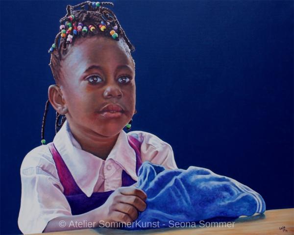 0234 | Schulmädchen in Tansania (1), Öl auf Leinwand, 100 x 80 cm, 2019