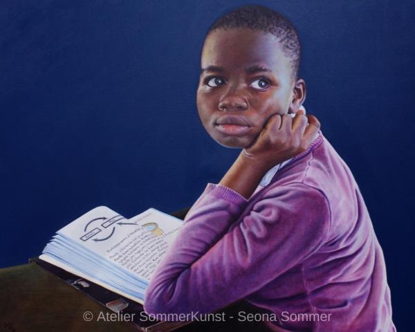 0236 | Schulmädchen in Tansania (2), Öl auf Leinwand, 100 x 80 cm, 2020
