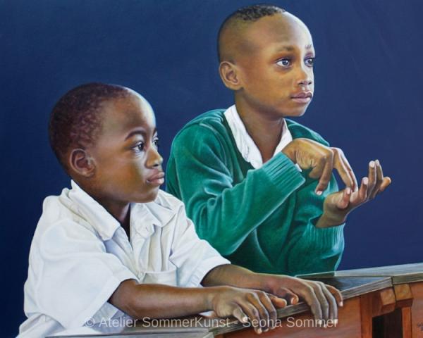 0240 | Schuljungen in Tansania, Öl auf Leinwand, 100 x 80 cm, 2020