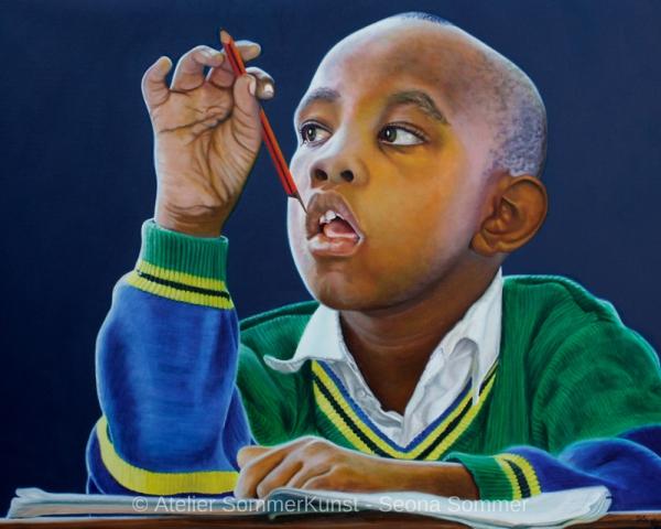 0241 | Schulkinder in Tansania 4, Öl auf Leinwand, 100 x 80 cm, 2020