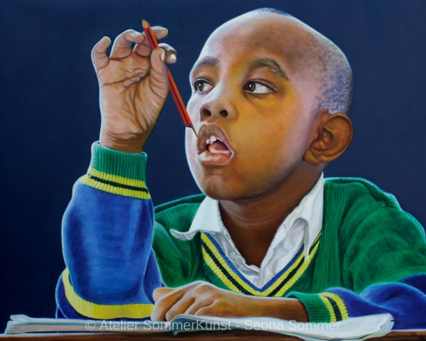 0241 | Schoolboy from Tanzania, oil on canvas, 100 x 80 cm, 2020
