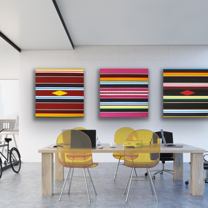 0095-0097 Sarapé Inspiration (Trilogy) 2009 | oil on canvas, 80 x 80 cm each, 200 EUR each or all three for 500 EUR